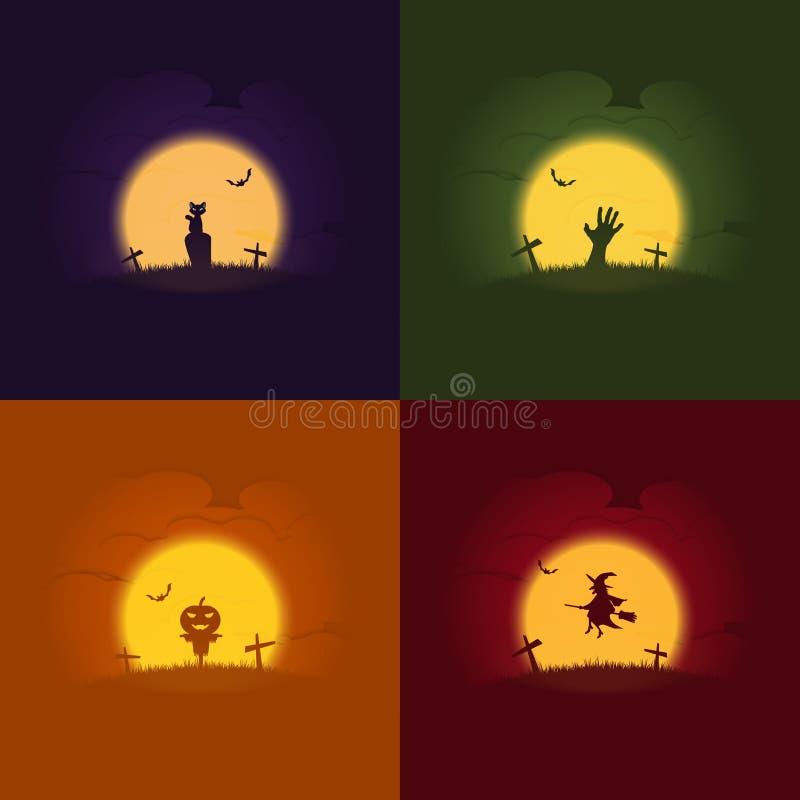 Concetti di Halloween, insieme dell'illustrazione di vettore, gatto, mano dello zombie, spaventapasseri della zucca, strega illustrazione di stock
