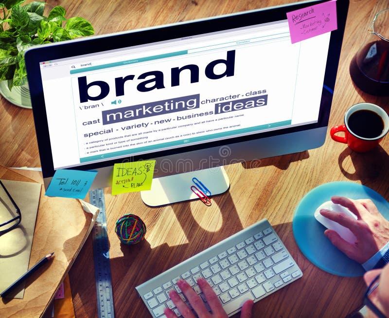 Concetti di idee di marketing del marchio del dizionario di Digital immagine stock libera da diritti