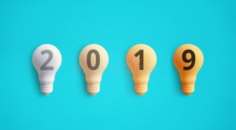 concetti 2019 di ispirazione di creatività con la lampadina immagine stock libera da diritti