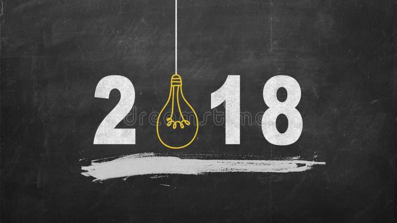 concetti 2018 di ispirazione di creatività con la lampadina sulla lavagna Idee di affari immagine stock