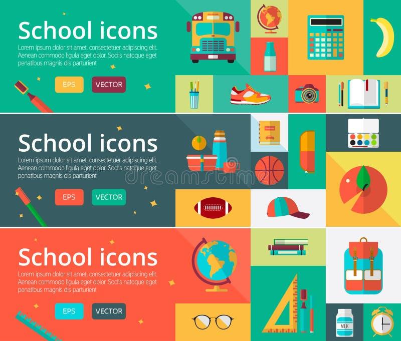 Concetti di progetto piani di vettore di istruzione Insegne orizzontali con gli elementi dello studente Di nuovo all'insieme del  illustrazione di stock