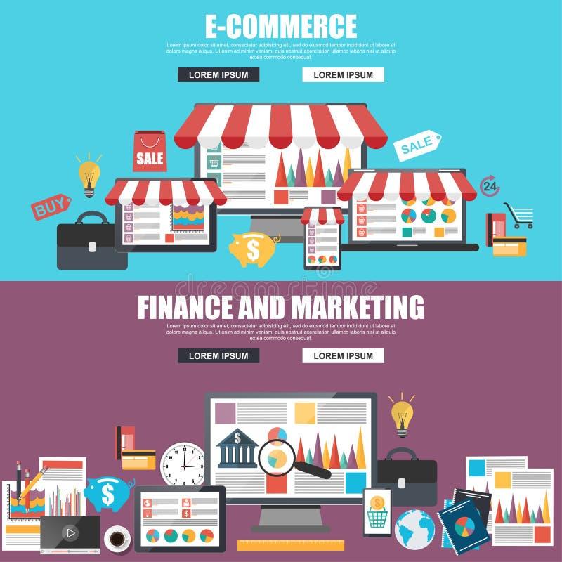 Concetti di progetto piani per analisi di commercio elettronico, di vendita e di strategia illustrazione vettoriale