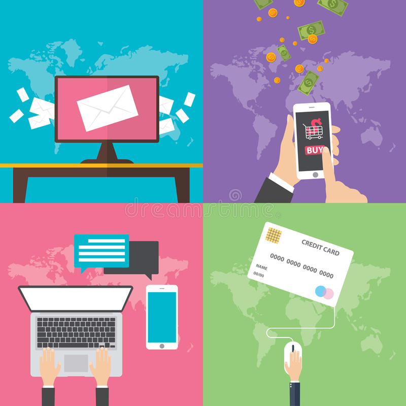 Concetti di progetto piani per la comunicazione online royalty illustrazione gratis