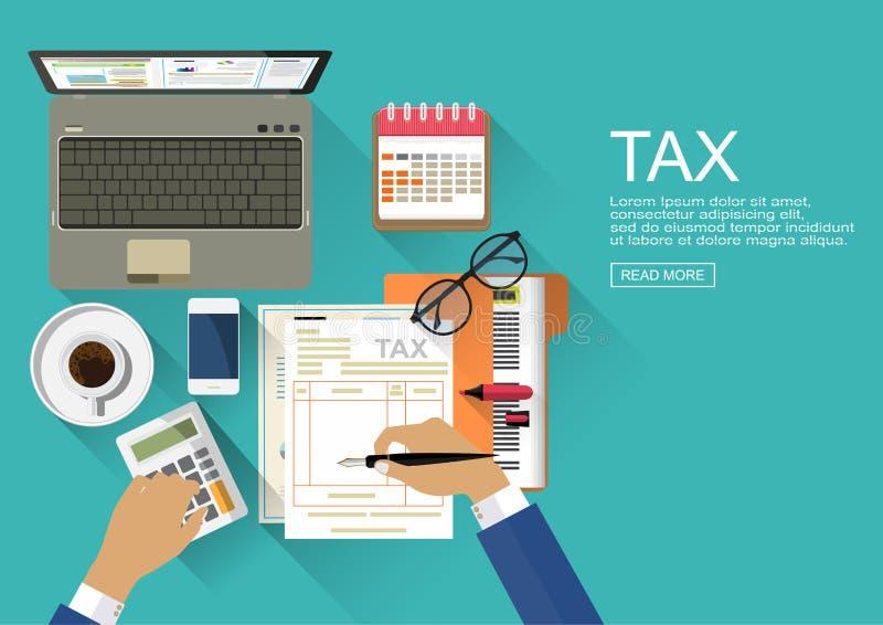 Concetti di progetto piani per verificare Esame del revisore dei conti del rapporto finanziario illustrazione vettoriale