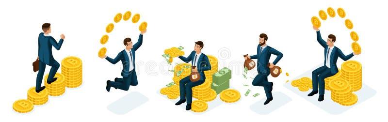 Concetti isometrici di nabor delle persone di affari dei guadagni e della valuta cripto della gestione, Bitcoin Illustrazione di  illustrazione vettoriale