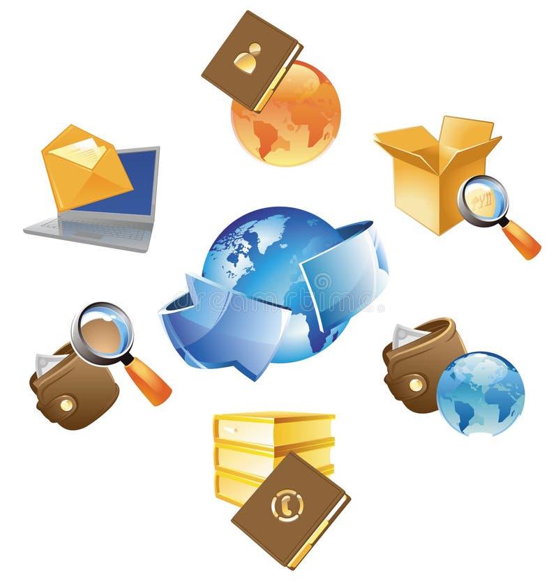 Concetti per informazione ed il commercio illustrazione di stock
