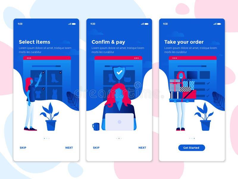Concetti piani di Oneboarding di progettazione - app di commercio elettronico royalty illustrazione gratis