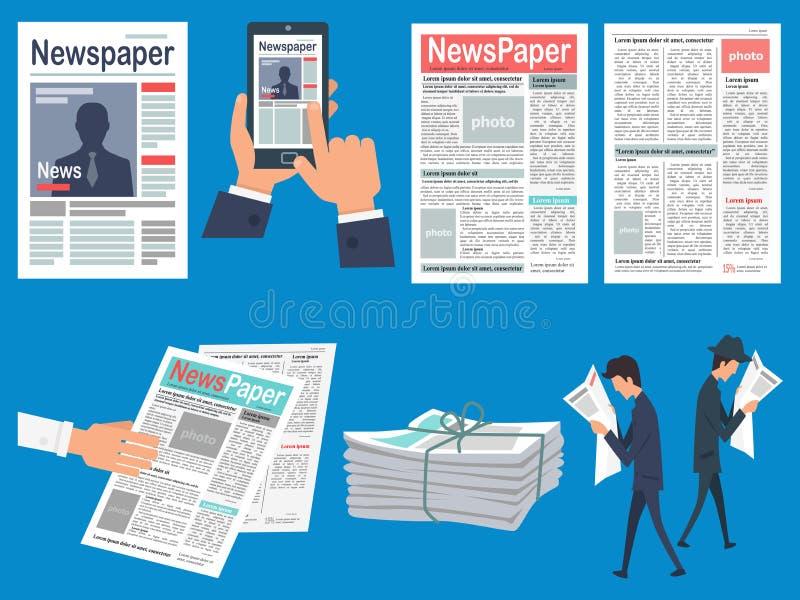 Concetti piani di vettore dei titoli di giornali fissati illustrazione vettoriale
