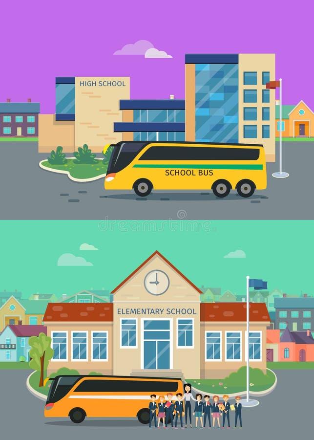 Concetti piani di vettore della High School elementare e royalty illustrazione gratis