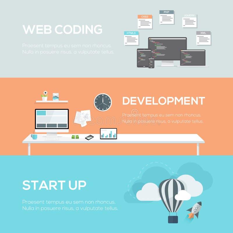 Concetti piani di web design Codifica, sviluppo e partenza di web royalty illustrazione gratis
