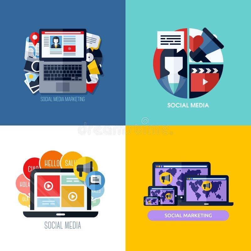 Concetti piani moderni di vettore di commercializzazione sociale di media royalty illustrazione gratis