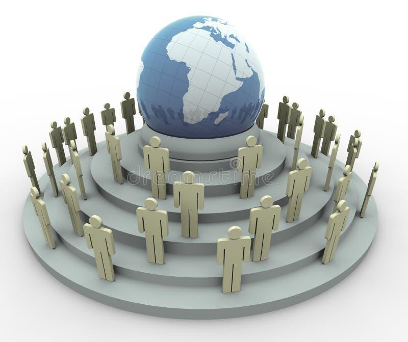 concetto 3d del villaggio globale illustrazione di stock