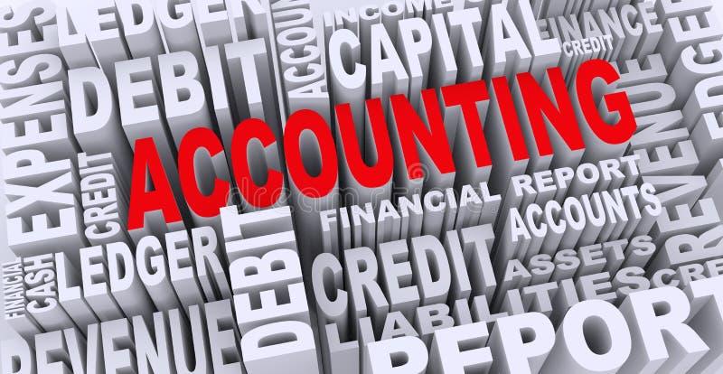 concetto 3d delle etichette di parola di contabilità illustrazione di stock