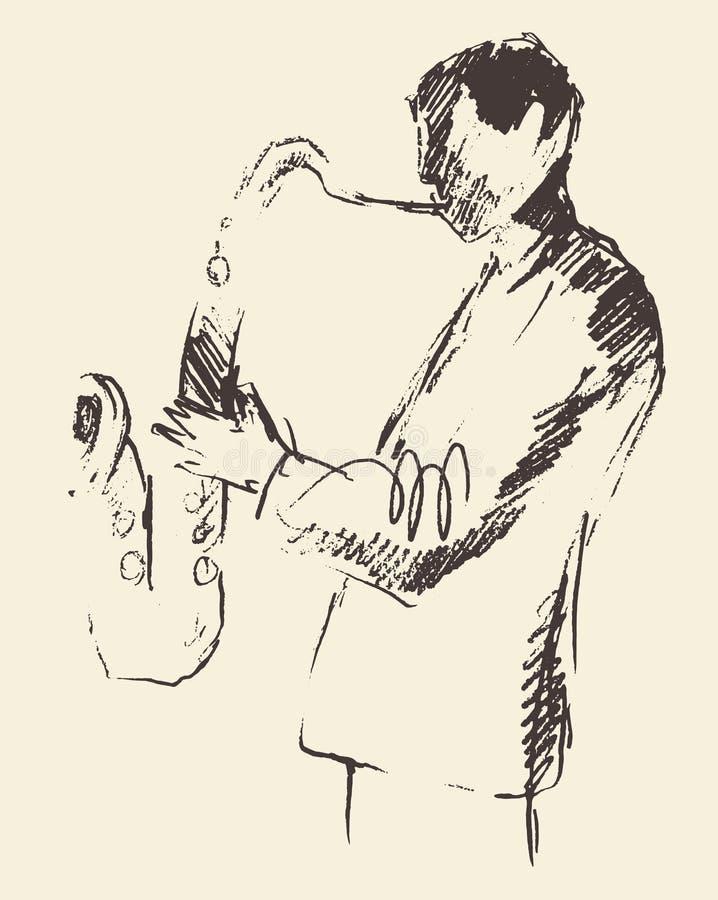 Concetto acustico di musica del sassofono del manifesto di jazz illustrazione di stock