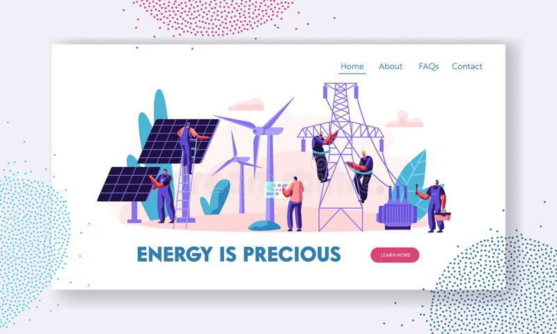 Concetto alternativo dell'energia pulita con i pannelli solari, i generatori eolici e l'ingegnere Character Landing Page Alimenta royalty illustrazione gratis