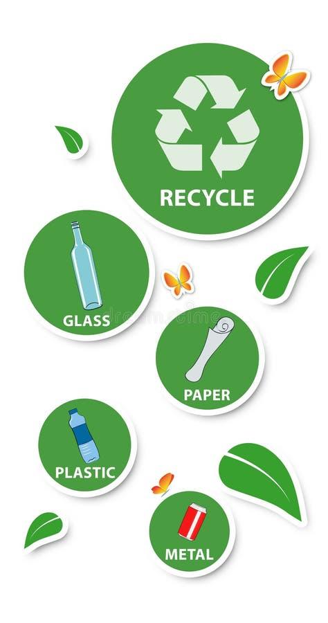 Concetto ambientale, autoadesivi rotondi e materiali riciclabili, illustrazione vettoriale