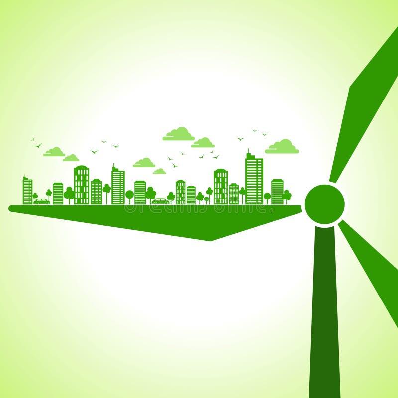 Concetto ambientale di ecologia della terra verde illustrazione vettoriale