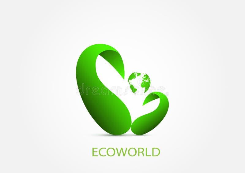 Concetto ambientale di ecologia verde del mondo illustrazione di stock