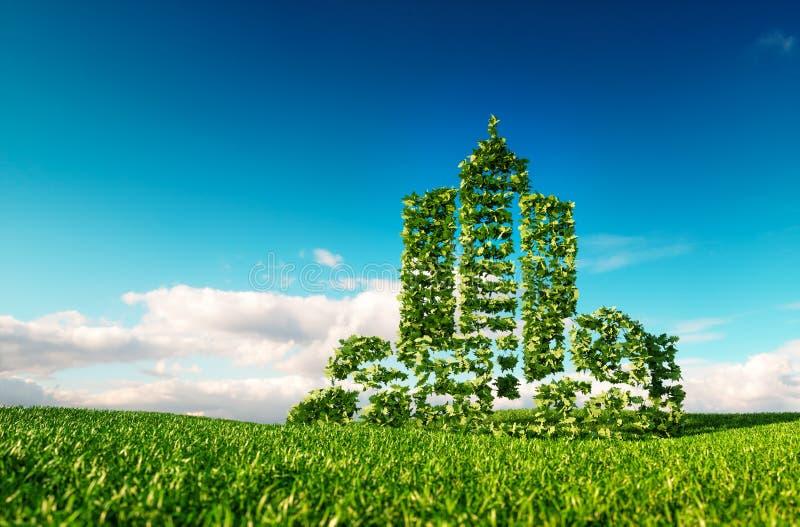Concetto amichevole della città di Eco rappresentazione 3d del segno di forma della città sul franco royalty illustrazione gratis