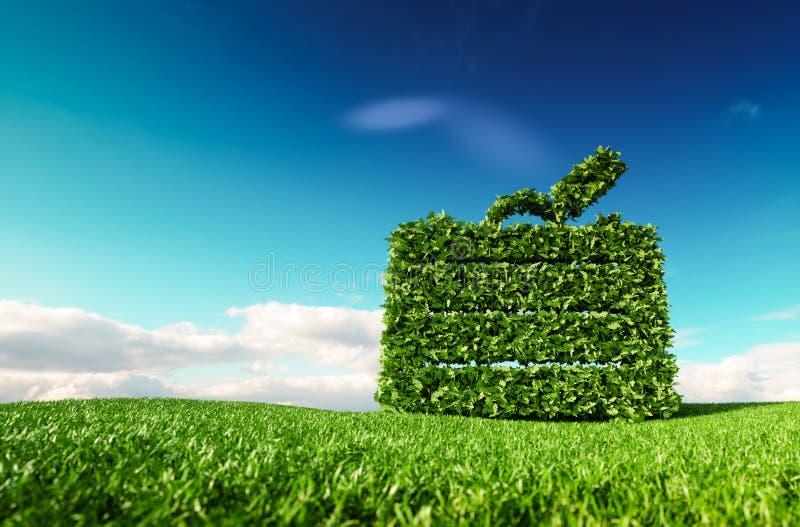 Concetto amichevole di turismo di Eco rappresentazione 3d di un'icona della valigia sopra royalty illustrazione gratis