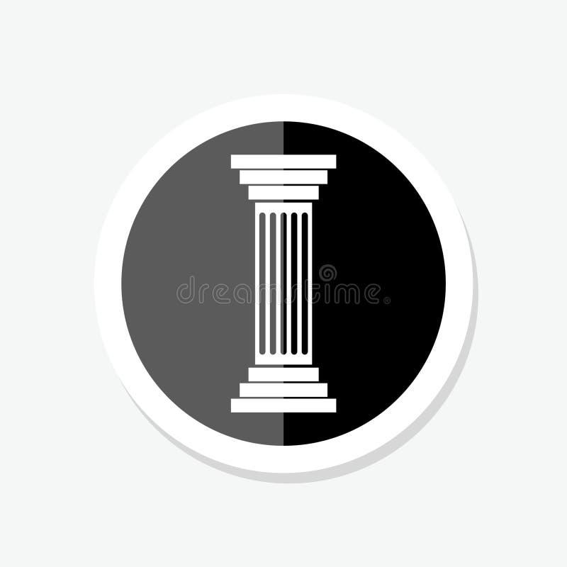 Concetto antico dell'icona dell'autoadesivo della colonna della colonna, isolato su fondo bianco illustrazione di stock