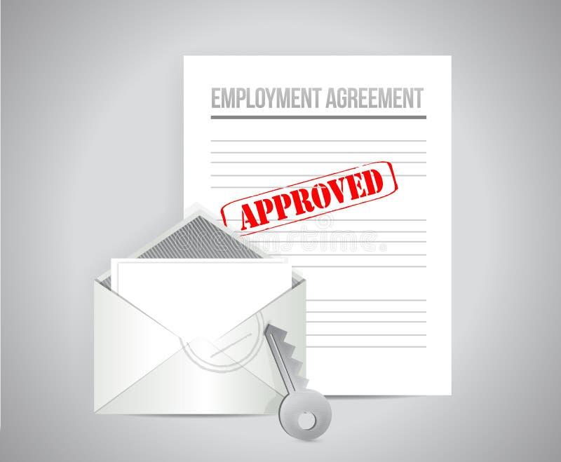 Concetto approvato di accordo di occupazione illustrazione di stock