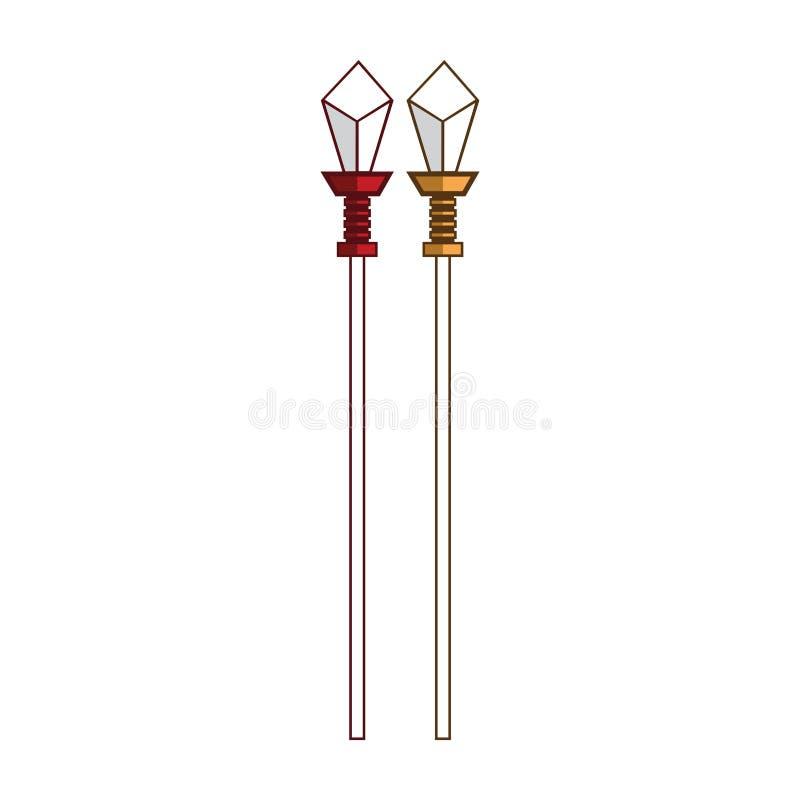 Concetto araldico di logo della lancia marrone rossiccio e dell'oro royalty illustrazione gratis
