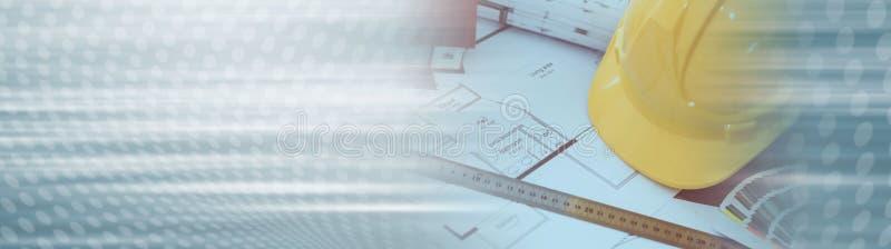Concetto architettonico di progetto Bandiera panoramica fotografia stock