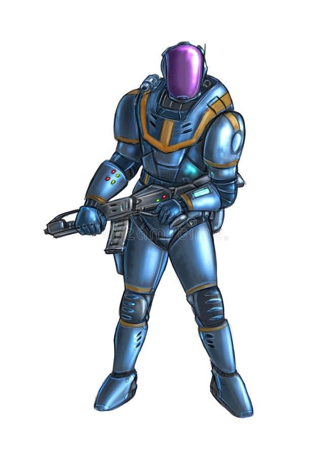Concetto Art Science Fiction Illustration del soldato futuristico Character in armatura o in vestito e con il fucile illustrazione vettoriale