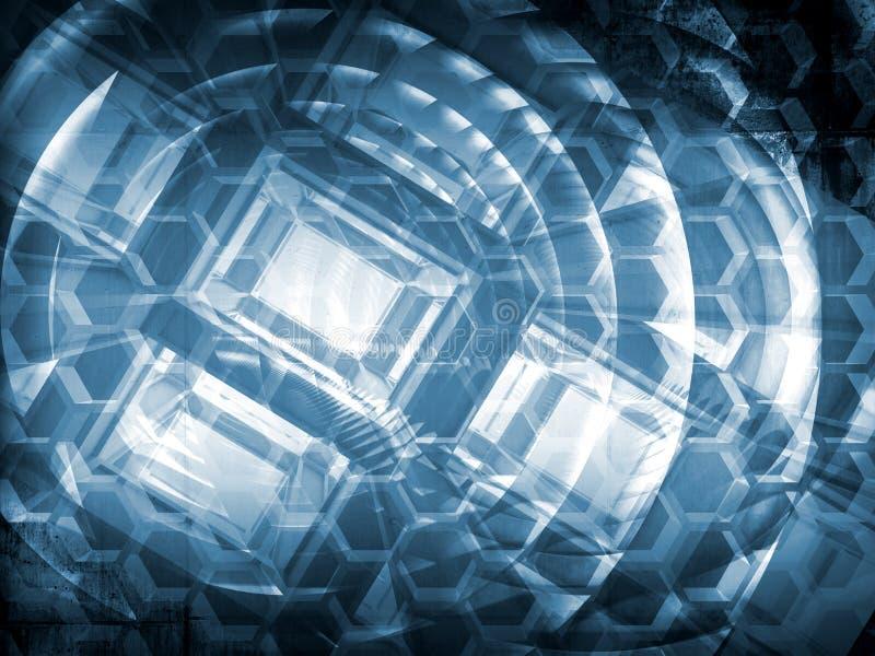 Concetto astratto blu scuro di ciao-tecnologia illustrazione di stock