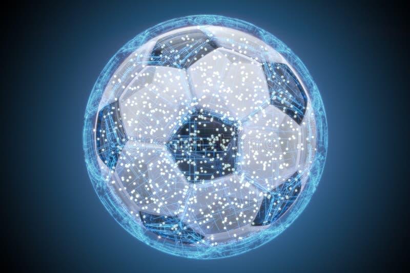 Concetto astratto di calcio, 3D illustrazione di stock