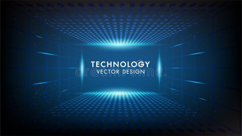 Concetto astratto di comunicazione di Ciao-tecnologia del fondo di tecnologia, tecnologia, affare digitale, innovazione, scena de illustrazione vettoriale