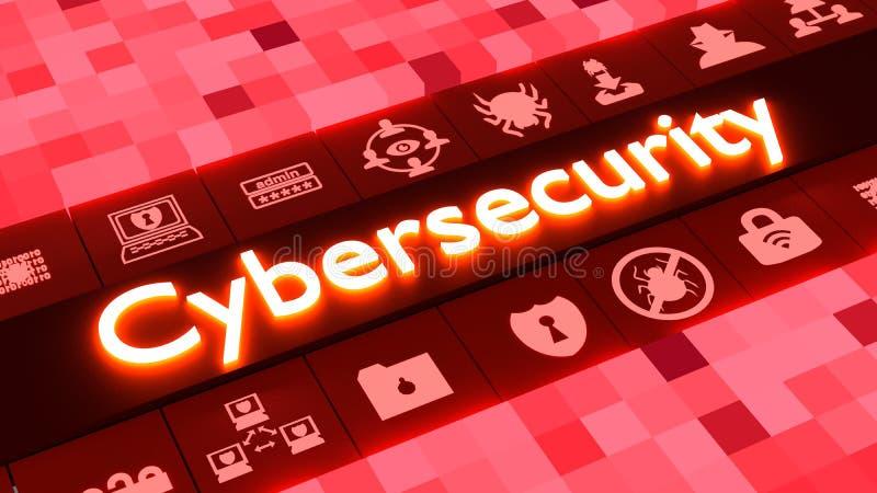 Concetto astratto di cybersecurity nel rosso con le icone illustrazione vettoriale