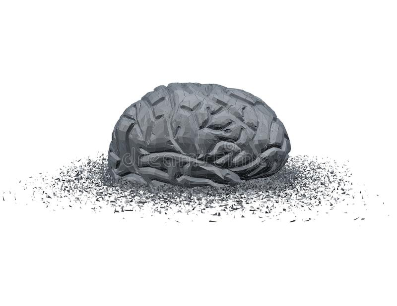 Concetto astratto di malattia e del trauma cranico con il cervello 3d rotto illustrazione di stock