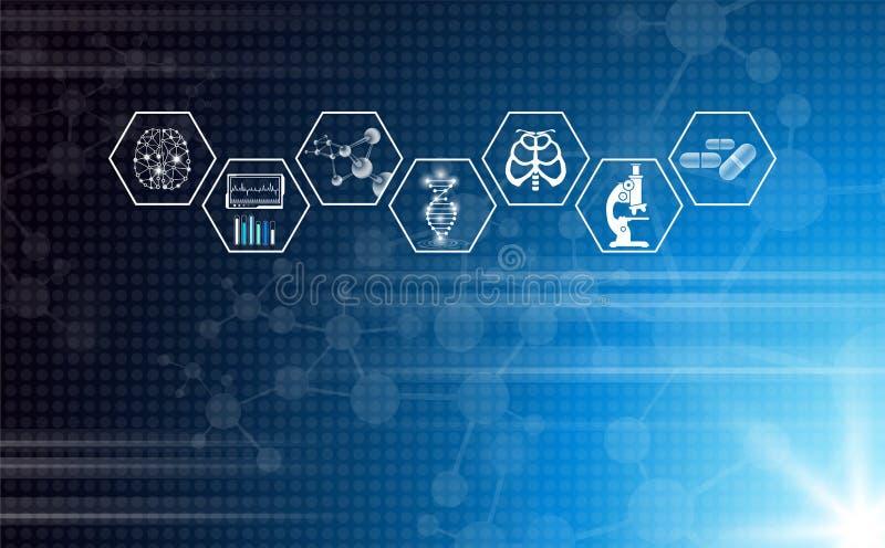 Concetto astratto di tecnologia del fondo alla luce blu illustrazione di stock