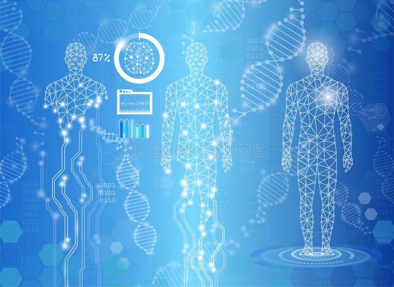 Concetto astratto di tecnologia del fondo alla luce blu, corpo umano royalty illustrazione gratis
