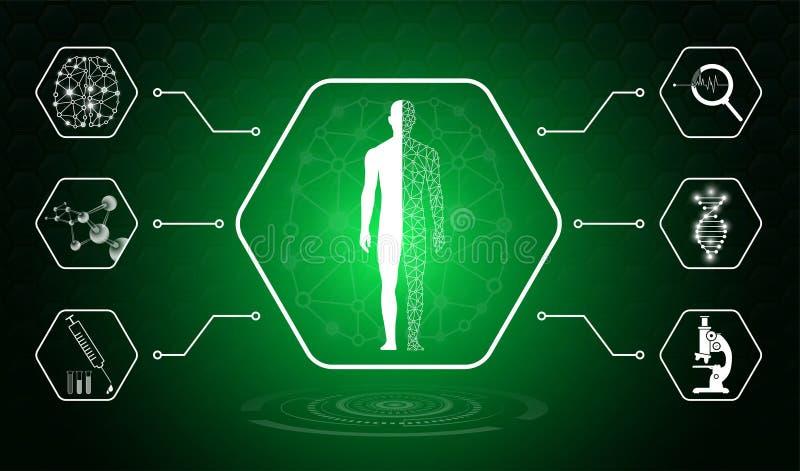 Concetto astratto di tecnologia del fondo nella luce verde illustrazione vettoriale