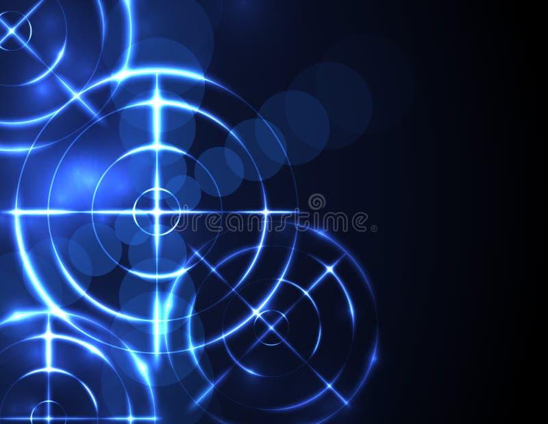 Concetto astratto di tecnologia digitale dell'obiettivo della gamma di fucilazione illustrazione di stock