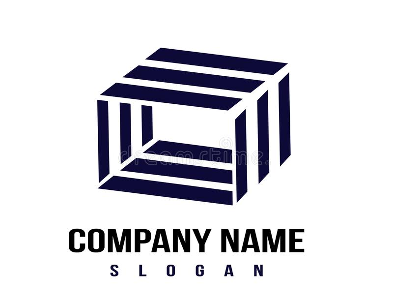 Concetto astratto di un logo del cubo illustrazione vettoriale