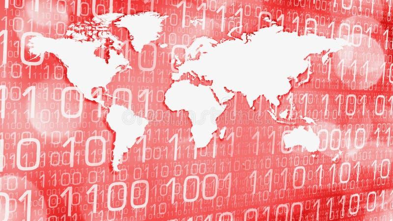 Concetto astratto rosso di tecnologia di sicurezza cyber del mondo royalty illustrazione gratis