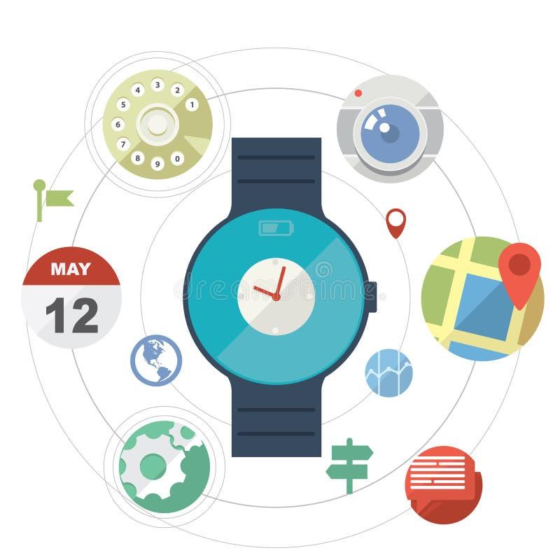 Concetto astuto dell'orologio con le icone illustrazione vettoriale