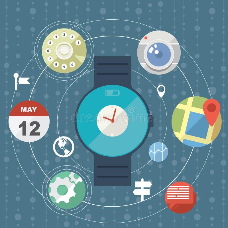 Concetto astuto dell'orologio con le icone piane illustrazione di stock