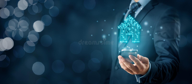 Concetto astuto di app della casa illustrazione di stock