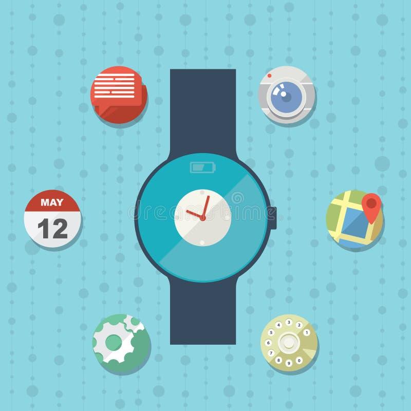 Concetto astuto piano dell'orologio con le icone royalty illustrazione gratis