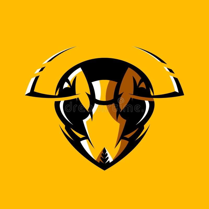 Concetto atletico di logo di vettore del club della testa furiosa del calabrone isolato su fondo arancio royalty illustrazione gratis