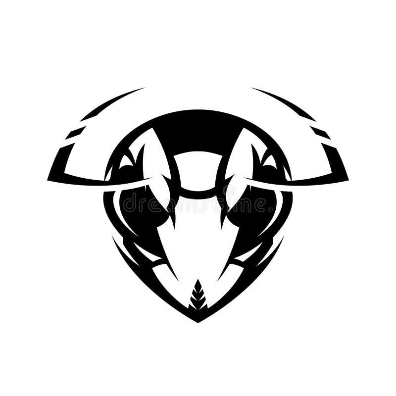 Concetto atletico di logo di vettore del club della testa furiosa del calabrone isolato su fondo bianco illustrazione di stock