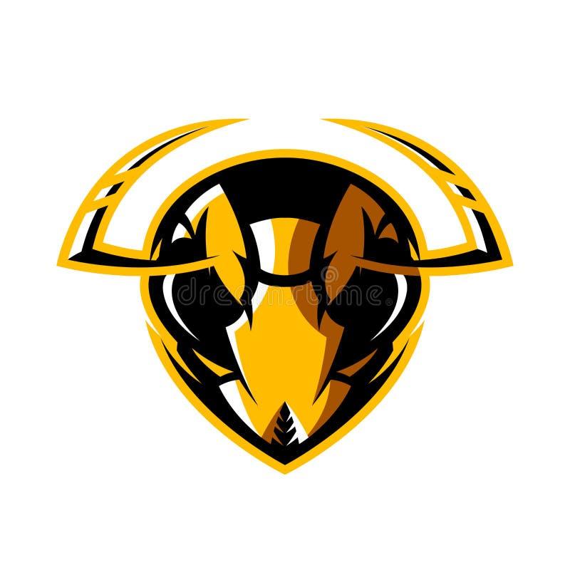 Concetto atletico di logo di vettore del club della testa furiosa del calabrone isolato su fondo bianco illustrazione vettoriale