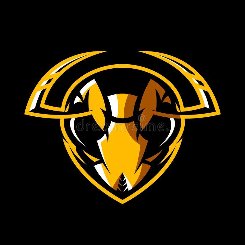 Concetto atletico di logo di vettore del club della testa furiosa del calabrone isolato su fondo nero illustrazione vettoriale