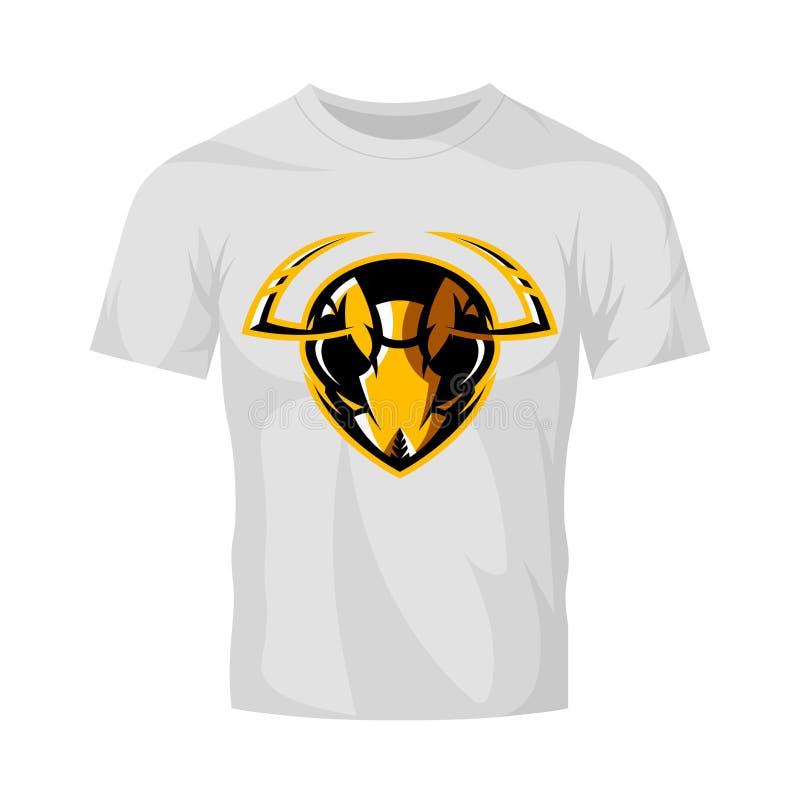 Concetto atletico di logo di vettore del club della testa furiosa del calabrone isolato sul modello bianco della maglietta illustrazione vettoriale