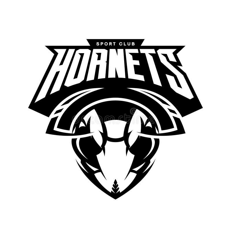 Concetto atletico di logo di vettore del club della testa furiosa del calabrone su fondo bianco illustrazione vettoriale